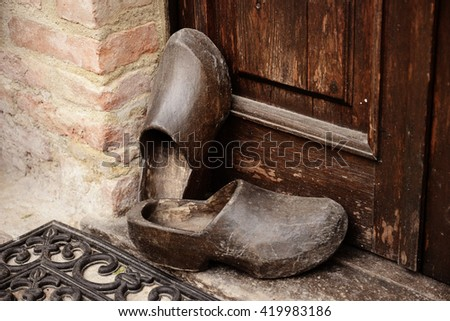 traditional farmer wooden clogs