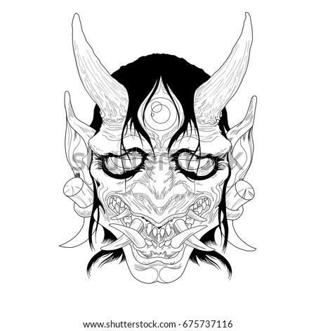 japanese demon mask stock vector 451687822 shutterstock. Black Bedroom Furniture Sets. Home Design Ideas
