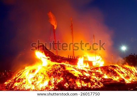 """Traditional festival """"Burning king of boat"""" in Taiwan - stock photo"""