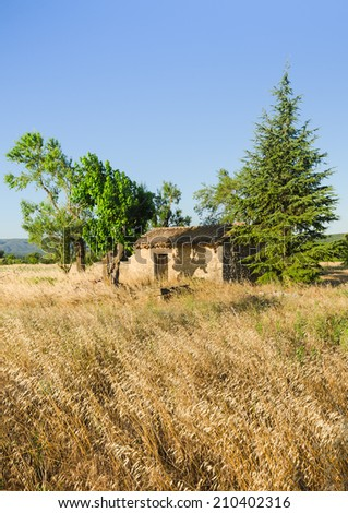 Traditional field building on farmland in Provence, France - stock photo