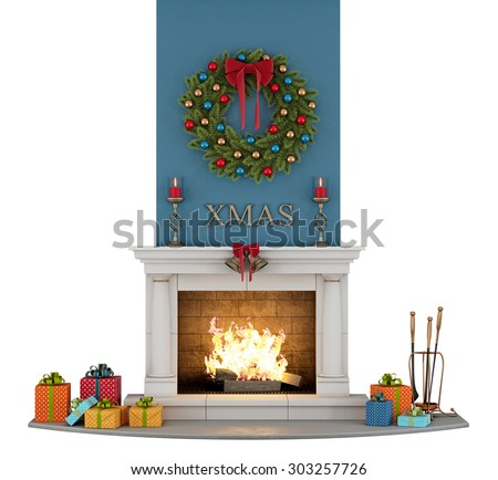 traditional fireplace with christmas decorations isolated on white - 3D Rendering - stock photo