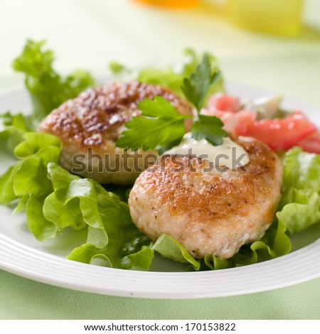 Traditional fish or meat  rissole with sauce and vegetable, selective focus - stock photo