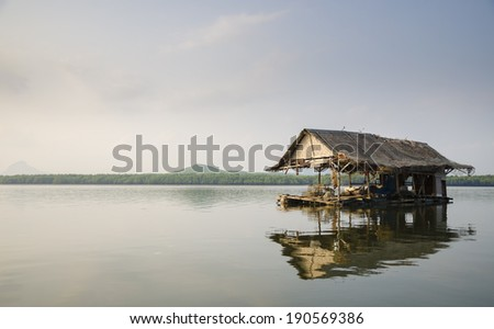 Traditional fishermen wooden houses, Thailand - stock photo
