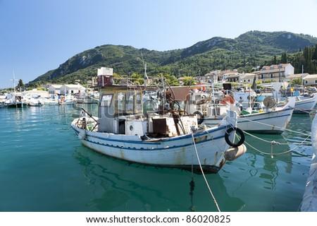 Traditional fishing boat Corfu Greece - stock photo