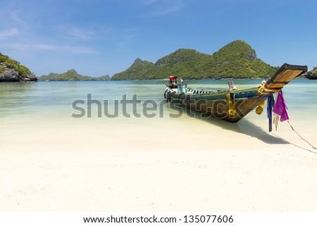 Traditional fishing longtail boat at Angthong national marine park near Koh Samui, Thailand - stock photo