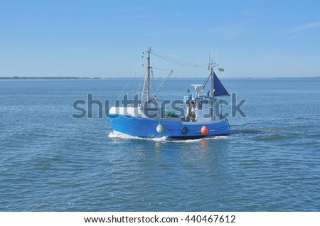 traditional Fishing Trawler near Hiddensee Island at Baltic Sea,Mecklenburg western Pomerania,Germany - stock photo