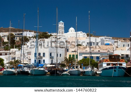 Traditional fishing village Adamas on Milos island, Greece - stock photo