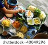 traditional floating market in Bangkok, Thailand - stock photo