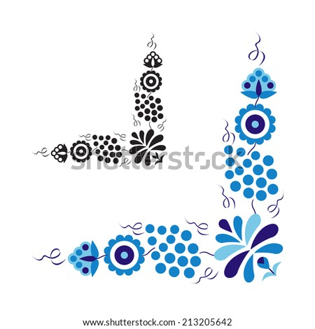 Traditional folk ornament and pattern isolated on white background (Vector version is also available in my portfolio, ID 163572662) - stock photo