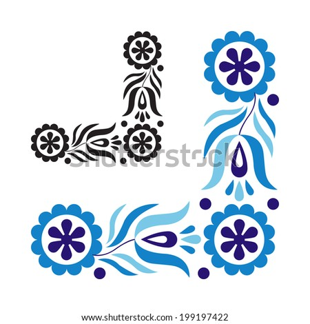 Traditional folk ornament isolated on white background - stock photo