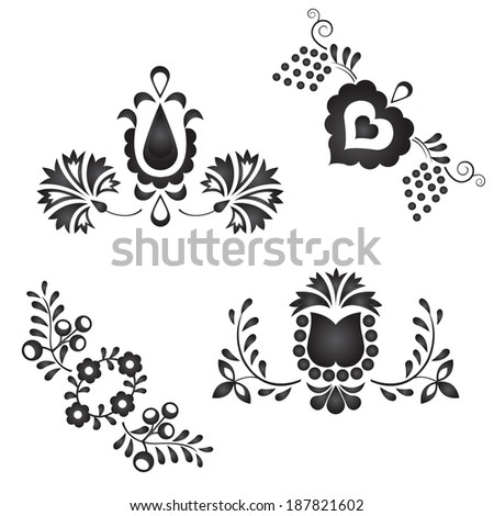 Traditional folk ornaments isolated on white background - stock photo