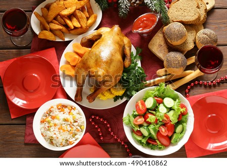 traditional food for Christmas dinner, festive table setting and decorations