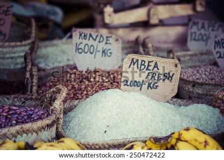Traditional food market in Zanzibar, Africa. - stock photo