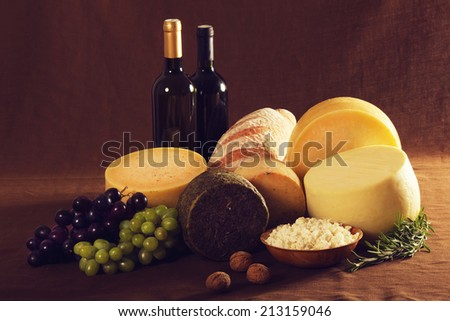 Traditional food on vintage canvas - stock photo