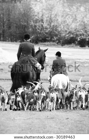 traditional fox hunting photographed in black and white - stock photo