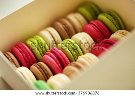 Traditional french colorful macarons - stock photo
