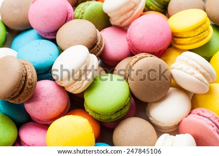 traditional french colorful macarons in a box, background - stock photo