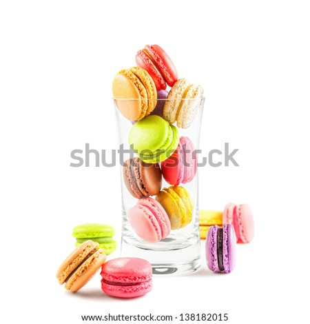 traditional french colorful macarons on white background