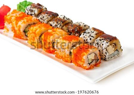 Traditional fresh japanese sushi rolls - stock photo