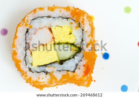 traditional fresh japanese sushi rolls in top view. - stock photo