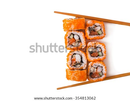 Traditional fresh japanese sushi rolls isolated on white background. Top view  - stock photo