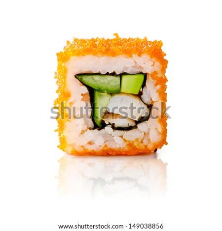 traditional fresh japanese sushi rolls on a white background - stock photo