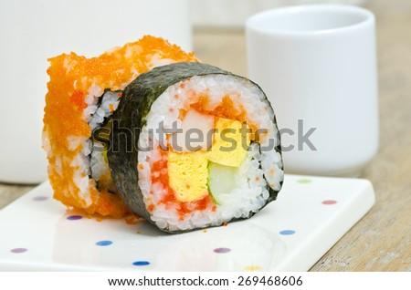 traditional fresh japanese sushi rolls ,shllow DOF - stock photo