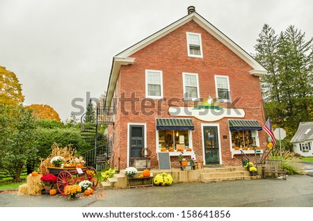 Traditional General Store Decorated for Halloween in a Small Village in Vermont