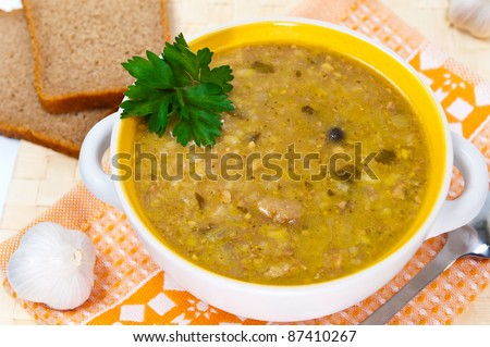 "Traditional Georgian soup with meat and rice, Soup ""Kharcho"" - stock photo"