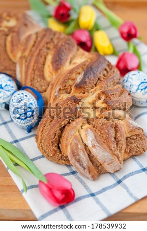 Traditional German Braided Sweet Easter Bread with hazelnuts