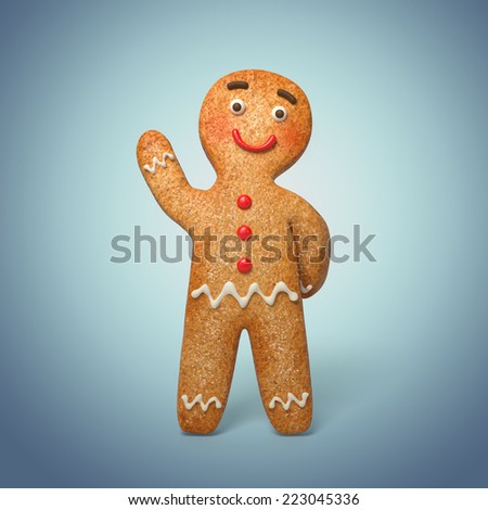 traditional gingerbread man illustration, 3d cookie cartoon character - stock photo