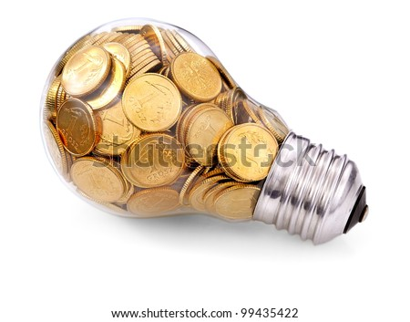 Traditional glass bulb with many golden coins