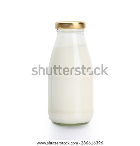Traditional glass milk bottle isolated on white background with clipping path. - stock photo