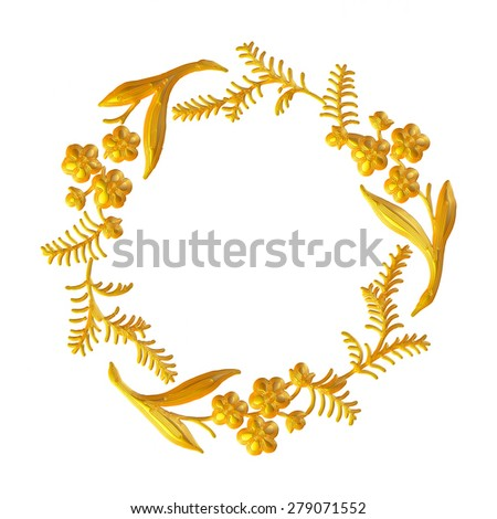 Traditional gold christmas wreath isolated on white background. festive decoration - stock photo