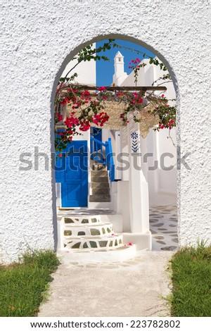 Traditional Greek architecture on Mykonos island - stock photo
