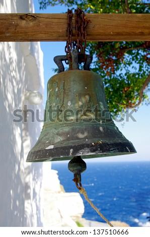 Traditional greek church bell on Sifnos island, Greece. - stock photo