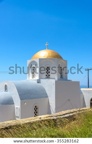 Traditional greek church in Mykonos, Greece. - stock photo