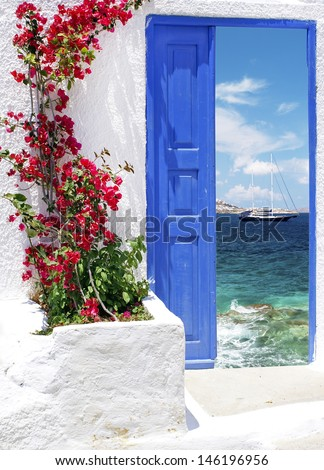 Traditional greek door on Mykonos island, Greece - stock photo