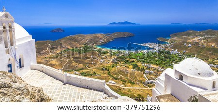 Traditional greek islands - Serifos. top view from monastery. Cy - stock photo
