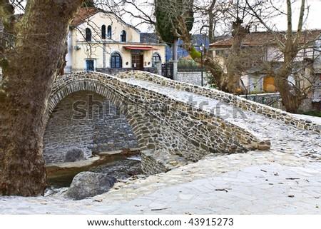 Traditional Greek village of Moustheni near Kavala city at north Greece - stock photo