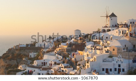 Traditional greek village, Oia, Santorini 2 - stock photo