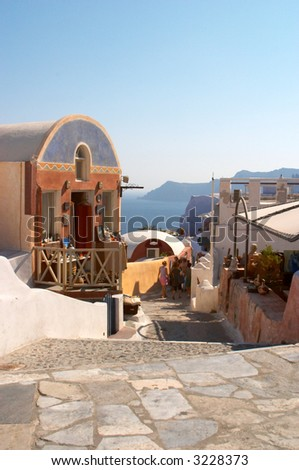 traditional greek village Oia Santorini - stock photo