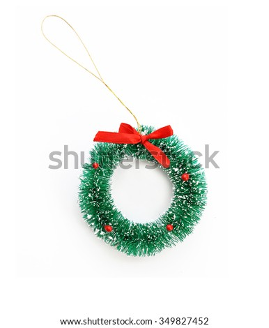 traditional green christmas decoration evergreen wreath isolate