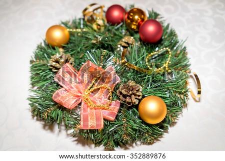 traditional green christmas wreath festive decoration - stock photo