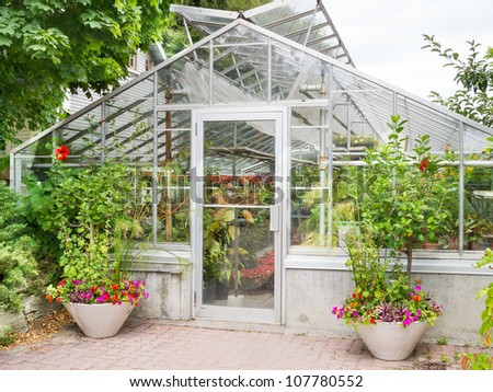 Traditional greenhouse with plants and foliage - stock photo