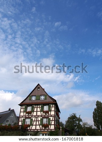 Traditional half-timbered house in Reichenau Island, Germany