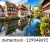Traditional half-timbered houses in La Petite France, Strasbourg, Alsace, France - stock photo