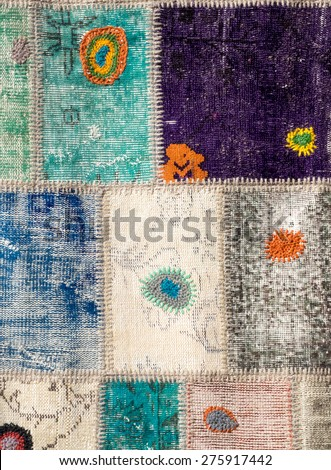 Traditional handmade turkish carpet. Colored rug at vintage style. Turkish mat with geometric pattern. Tradition Turkey home rugs - oriental craft and decor of interior. - stock photo