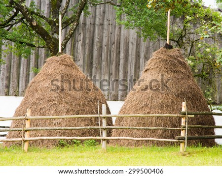 Traditional haystacks at an old farm house - stock photo