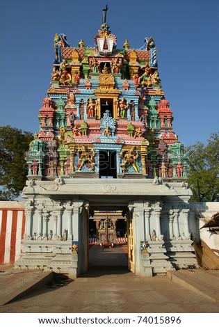 Traditional Hindu temple, South India, Kerala - stock photo